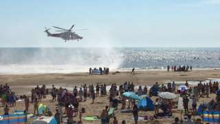 Emergency teams at Camber Sands on 24 August 2016