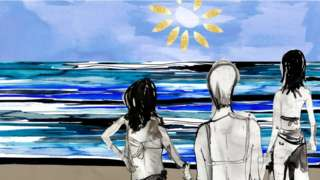 Two girls and a woman on the beach, looking out to sea