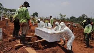 Workers clad in hazmat suits bury the coffin of a person who died coronavirus in Jakarta, Indonesia, 23 September 2020