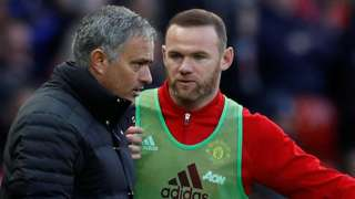 Manchester United manager Jose Mourinho (left) and Wayne Rooney