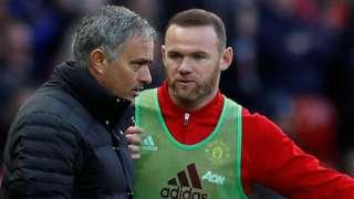 Manchester United manager Jose Mourinho (left) and Wayne Rooney