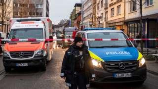 Hanau scene after shooting, 20 Feb 20
