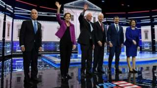 Candidates on the stage at the Democratic debate in Nevada