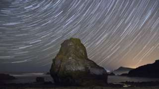 Orionid meteor shower at night