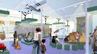 Graphic drawing of how museum will look after refurbishment