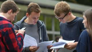 Students opening their A-level results