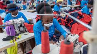 Garment workers in a factory in Kigali