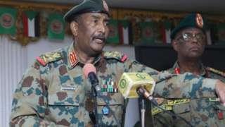 Gen Abdel Fattah Abdelrahman al-Burhan during his visit to the army in Khartoum, Sudan in September 21