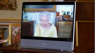 The Queen hosting a virtual audience