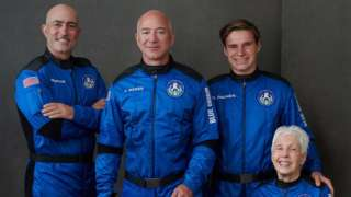 From left: Mark Bezos, Jeff Bezos, Oliver Daemen, Wally Funk