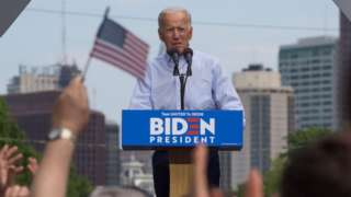 Joe Biden at podium at Philadelphia rally
