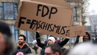 Anti-FDP protest in Erfurt, 6 Feb 20