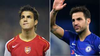 Cesc Fabregas in 2004 (l) and 2019 (r)