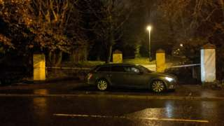 The exterior of the scene of a shooting at Dunmurry