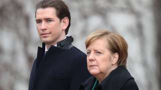 Sebastian Kurz, canciller austríaco, y Angela Merkel, canciller alemana.