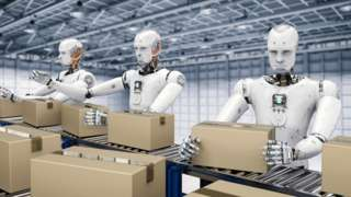 Artists impression of robots packing boxes