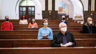 Socially distanced church congregation