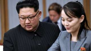 Kim Jong-un and sister Kim Yo-jong attend the Inter-Korean Summit at the Peace House on April 27, 2018 in Panmunjom, South Korea