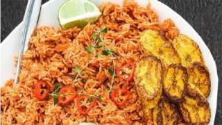 Jollof rice and Plantain