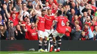 Bruno Fernandes, Greenwood and Pogba celebrate United goals