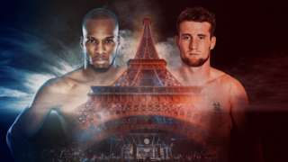 Promotional graphic of the two MMA fighters, Michael 'Venom' Page and Ross 'The Hitman' Houston, positioned on either side of the Eiffel Tower