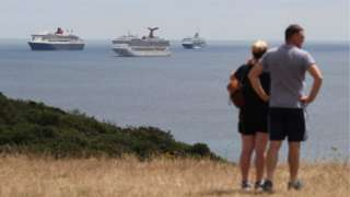 Cruise ships off the coast of Portland