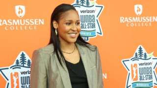 Maya Moore of the Minnesota Lynx poses on the Orange Carpet prior to WNBA All-Star Welcome Reception on July 27, 2018