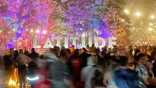 People at Latitude Festival at night