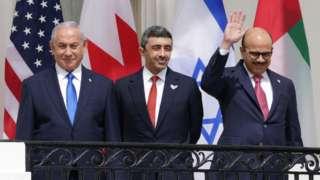 Benjamin Netanyahu, Abdullah bin Zayed bin Sultan Al Nahyan y Abdullatif bin Rashid Al Zayani.