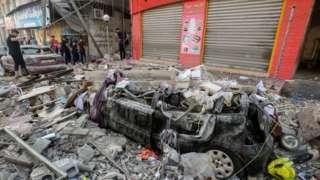 Damage from an Israeli air strike overnight in Gaza City