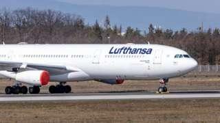 Lufthansa aircraft parked at Frankfurt Airport
