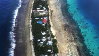An aerial image of Funafuti, Tuvalu, on 15 August 2018