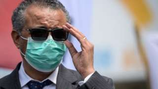Tedros Adhanom Ghebreyesus adjusts his glasses during a meeting with Doctors for Extinction Rebellion in May