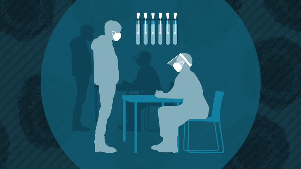 Mass testing graphic of doctor and patient