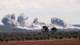 Image shows smoke near Idlib city in north-western Syria, following air strikes on 1 March