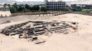 An undated handout photo made available by the Egyptian Department of Antiquities on 14 February 2021 shows the remains of a brewery uncovered in the ancient city of Abydos at Sohag Governorate in Egypt