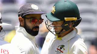 India captain Virat Kohli and Australia counterpart Tim Paine clash during day four of the second Test in Perth