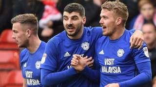 Danny Ward (right) celebrates his goal