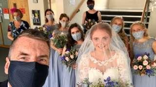 Ella, her dad and bridesmaids