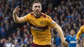 Louis Moult celebrates scoring for Motherwell