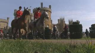 BBC Inside Out footage of Belvoir Hunt members at Belvoir Castle