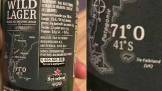 Beer bottle with label saying Falkland Islands (UK)