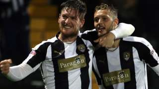 Notts County celebrate their fourth goal against Bristol Rovers
