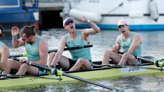 Cambridge celebrate winning the men's 2021 Boat Race
