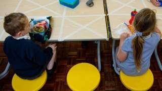 Children socially distancing in a school
