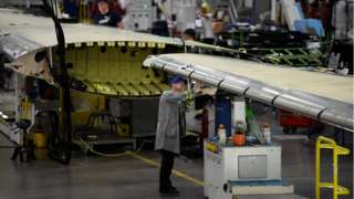 Wings being built at the Belfast Bombardier plant