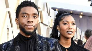 Chadwick Boseman with wife Simone at the 2019 Academy Awards