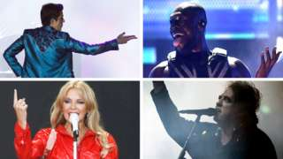 Clockwise from top left: The Killers, Stormzy, The Cure and Kylie Minogue at Glastonbury