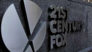 The 21st Century Fox logo is displayed on the side of a building in midtown Manhattan in New York, U.S., February 27, 2018
