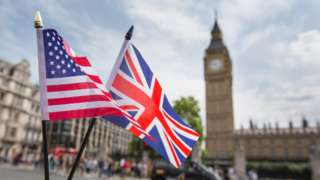 UK and US flags in front of the Houses of Parliament